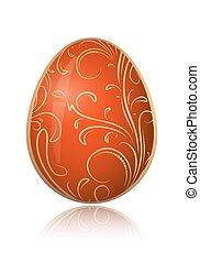brillante rojo, huevo de pascua, con, dorado, decorativo, floral, branch., vector, illustration.
