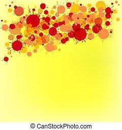 brillante rojo, y, naranja, vector, acuarela, gotas, en, fondo amarillo