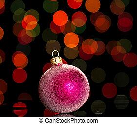 brillante, rosa, navidad, juguete, en, oscuridad, parpadeo
