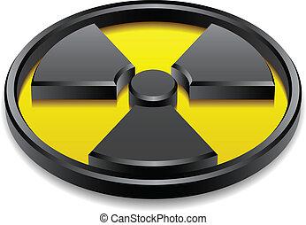 brillante, símbolo, vector, radiación, 3d