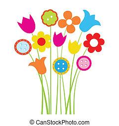 brillante, saludos, tarjeta, con, flores, y, botones