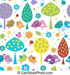 brillante, seamless, patrón, con, amantes, aves