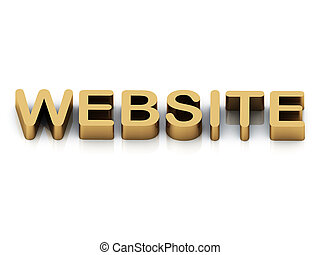 brillante, sitio web, dorado, carta, inscripción, 3d