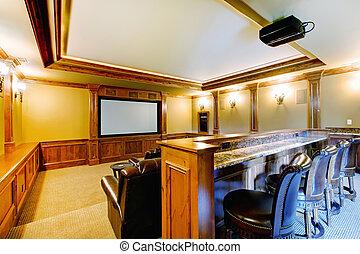 brillante, teatro casa, con, bar.