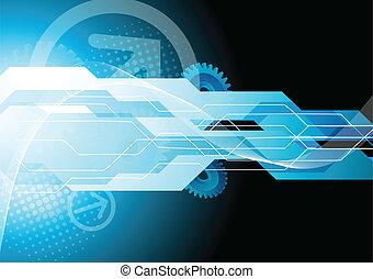 brillante, tecnología, plano de fondo, con, engranajes