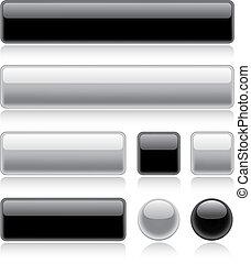 brillante, tela, botones