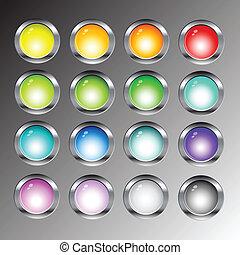 brillante, tela, botones, iconos