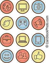 brillante, vector, internet, insignias, iconos
