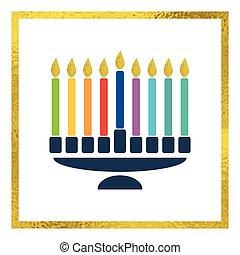 brillante, velas, menorah, vector