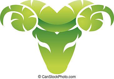 brillante, verde, carnero