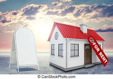 brillantemente, casa, signo., blanco, etiqueta, fondo rojo, techo, alquiler, sol, acera, shines, chimenea