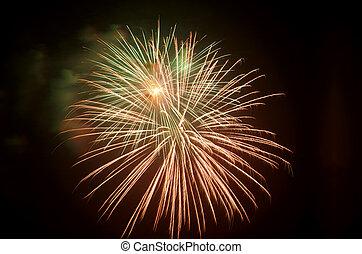 brillantemente, fireworks, colorito, festivo