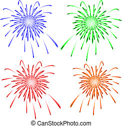 brillantemente, fireworks., vector, colorido