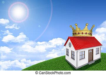 brillantemente, herboso, casa, crown., colina verde, plano de fondo, techo, sol, blanco, shines, rojo