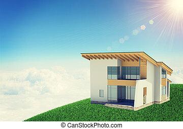 brillantemente, nubes, tenencia, sol, windows., plano de fondo, manos, cabaña, shines