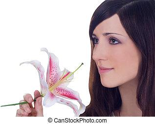 brillantemente, retrato, de, joven, encantador, morena, con, flor, en, manos