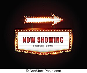 brillantemente, segno, cinema, retro, ardendo, neon, teatro
