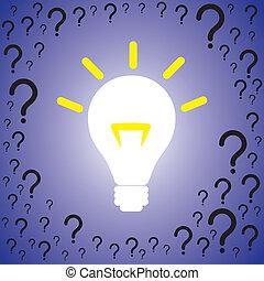 brillantemente, spostato, concetto, essendo, problemi, contiene, domanda, idea, illustrazione, soluzione, luminoso, solution., grafico, contrassegni, bulbo, problema, molti, o, indicare