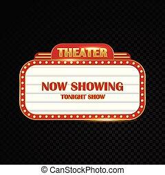 brillantemente, teatro, oro, cinema, segno neon, ardendo, retro