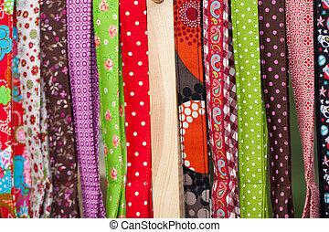 brillantemente, textiles, coloreado