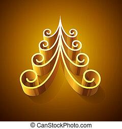 brillar, dorado, 3d, árbol de navidad