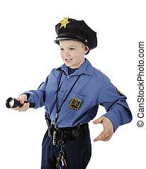 brillar, joven, policía