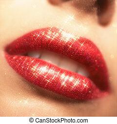 brillar, labios, maquillaje