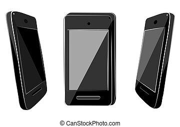 brillar, mano, bosquejo, empate, color, vector, 3, viejo, modelo, plano, simple, smartphone