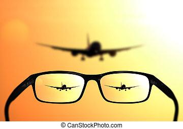 brille, anblick-konzept, eben