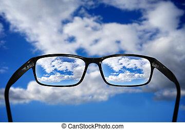 brille, anblick-konzept, himmelsgewölbe