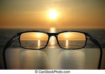 brille, anblick-konzept, sonnenuntergang