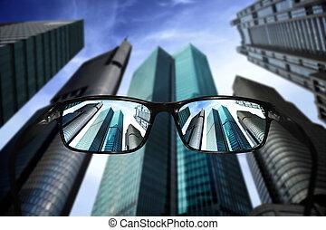 brille, anblick-konzept, wolkenkratzer