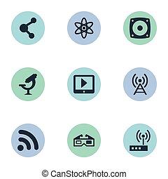 brille, andere, vektor, router, icons., atom, synonyms, elemente, satz, anteil, technologie, drahtloser anschluß, button., einfache , abbildung