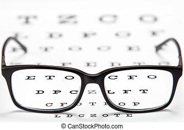 brille, beäugen prüfung, tabelle