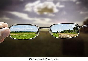 brille, drehen, düster, tag, in, sonnig