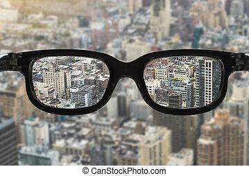 brille, fokus, cityscape