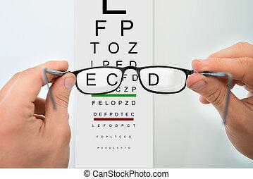 brille, halten hände