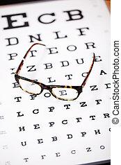 brille, liegen, auf, sehen prüfung, tabelle