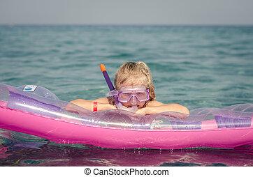 brille, m�dchen, sonnenbaden, rosa, tauchen, aufblasbar, ...