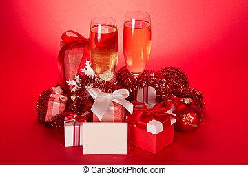 brille, mit, champagner, geschenk boxt, weihnachten, bereiche