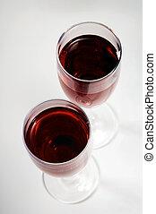 brille, mit, rotwein