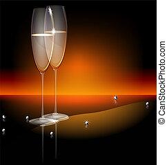 brille, schwarz, zwei, hintergrund, champaghe