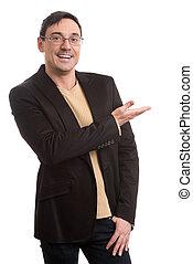 brille, schwarze klage, lächeln, hübsch, mann