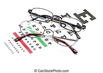 brille, tabelle, snellen, pr�fung, sichten, auge