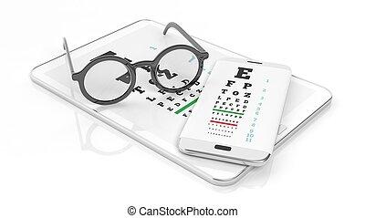 brille, tablette, und, smartphone, mit, sehvermögen prüfung,...