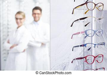 brille, textanzeige, an, kaufmannsladen