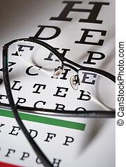 brille, und, sehen prüfung, tabelle, unterschiedlicher fokus