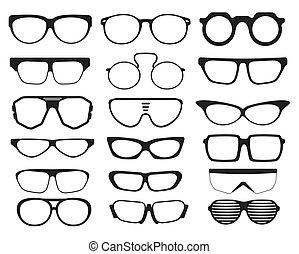 brille, und, sonnenbrille, silhouetten