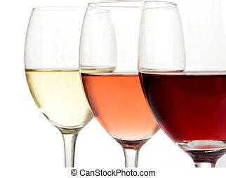brille, von, weißes, rose, und, rotwein
