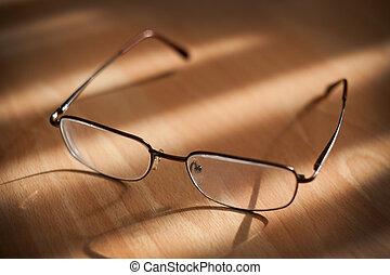 brillen, warme, achtergrond